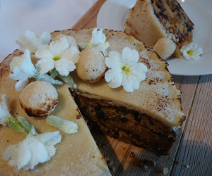 Simnel cake with candied Primrose