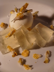 Gorse flower jelly & Ice cream