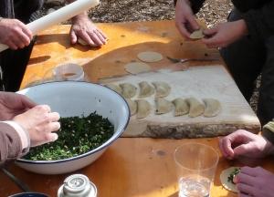 Making  Nettle Empanadillas