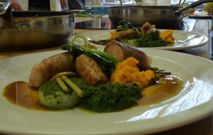 Rabbit loin with York ham, rabbit sausage, potatoes with wild garlic powder for blog